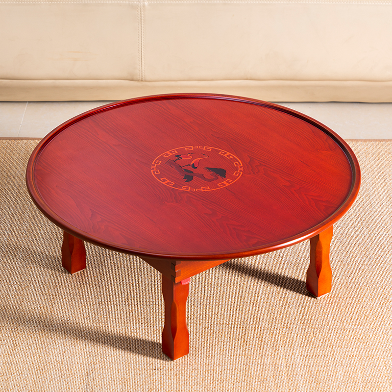 Asian Style Antique Round Table Folding Legs 90cm Living Room Furniture Korean Floor Dinning Table Wood Low Tea Coffee Table