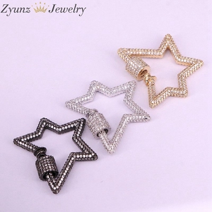 Image 4 - 3PCS, Star Jewelry Clasps Lock Carabiner Micro Pave CZ Copper Connector Clasp For Necklace Jewelry Making