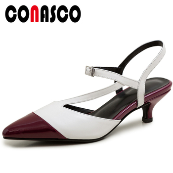 CONASCO Casual Fashion 2020 Summer Genuine Leather Women Sandals Pumps Mixed Colors Thin Heels Narrow Band Shallow Shoes Woman