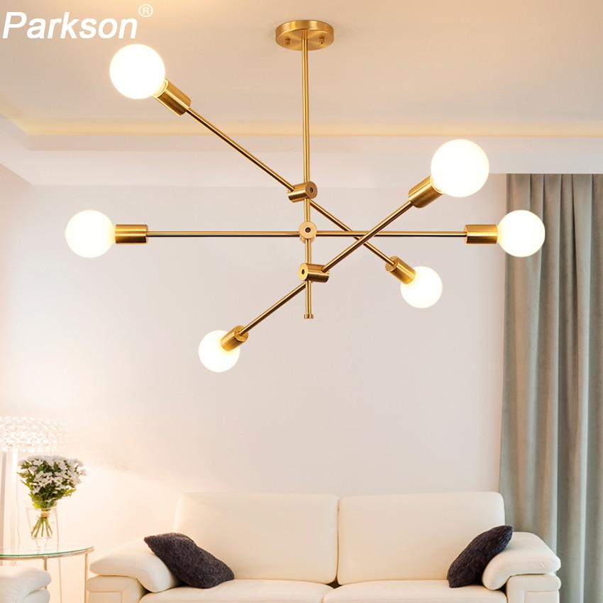 Modern Pendant Lights Lamp E27 Simple Hanging Lamp Nordic Metal Lustre Hanglamp Gold Black For Living Dining Room