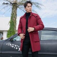 1pcs Mens Plus size long down jacket 2019 Winter White Duck Down Big pocket Splicing Hooded Jacket Men Skinny jackets Coats