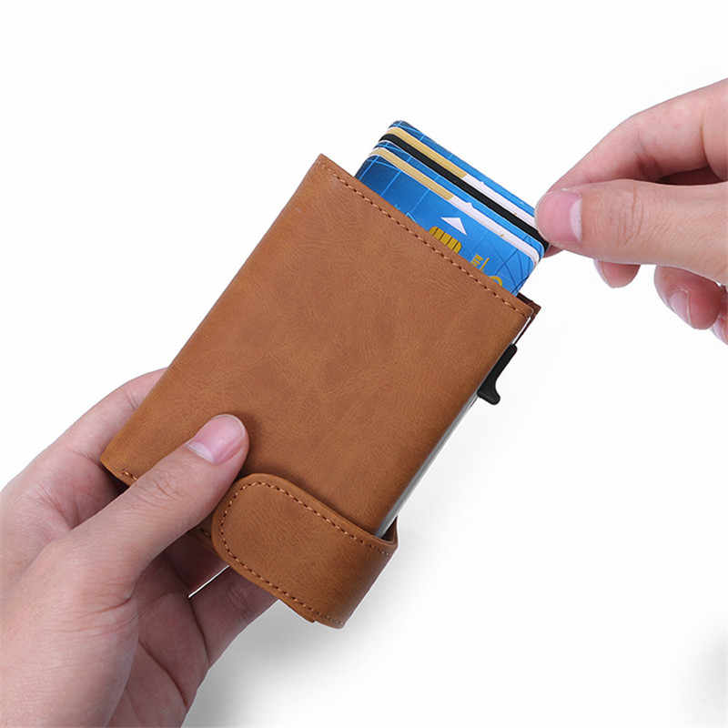 Bisi Goro Rfid Anti-Diefstal Mannen Smart Wallet Credit Card Porte Carte Fashion Card Case Paspoorthouder Unisex Coin portemonnee