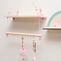 Candinavian Suspended Baby Room Shelf Kids Camera Design Pearls Clothes Hanging Rack Wooden Swing TP899