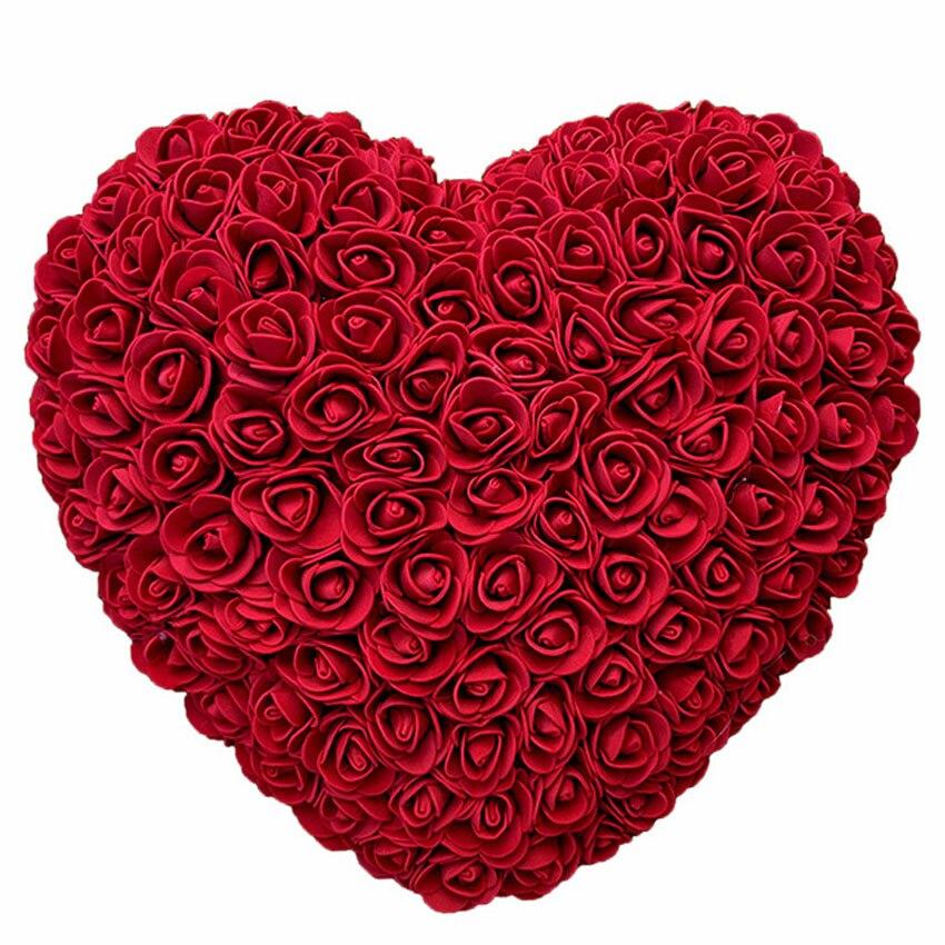 Vip 25cm rosa urso artificial flor coração artificial flor rosa coração