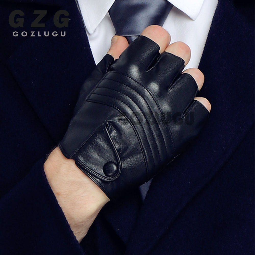 Leather Gloves Round Nail Luva Punk Hip-hop Half-finger Motociclista Tactical Gloves Without Fingers