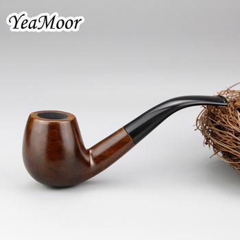 Nowe wygięte drewniane fajka akcesoria do tytoniu 9mm filtr drewno hebanowe rury ręcznie fajka do tytoniu dym narzędzia prezent tanie i dobre opinie YeaMoor Drewna Lakier Bezpłatne typu YM-001-Wood