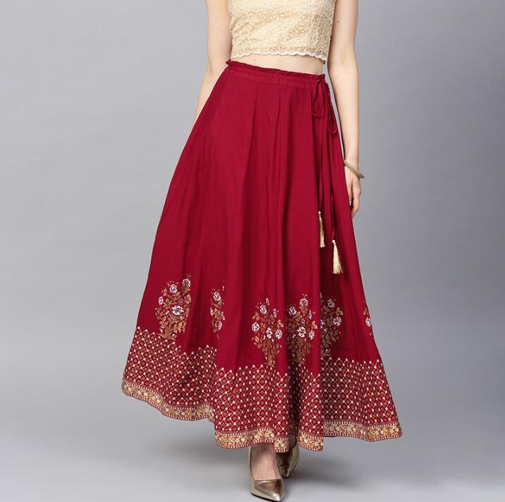 US $45.92 18% OFF|2020 New India Sarees Costume Ethnic Style Kurtas Woman Performance Dance Red Cotton Leng Ha Skirt|India & Pakistan Clothing|