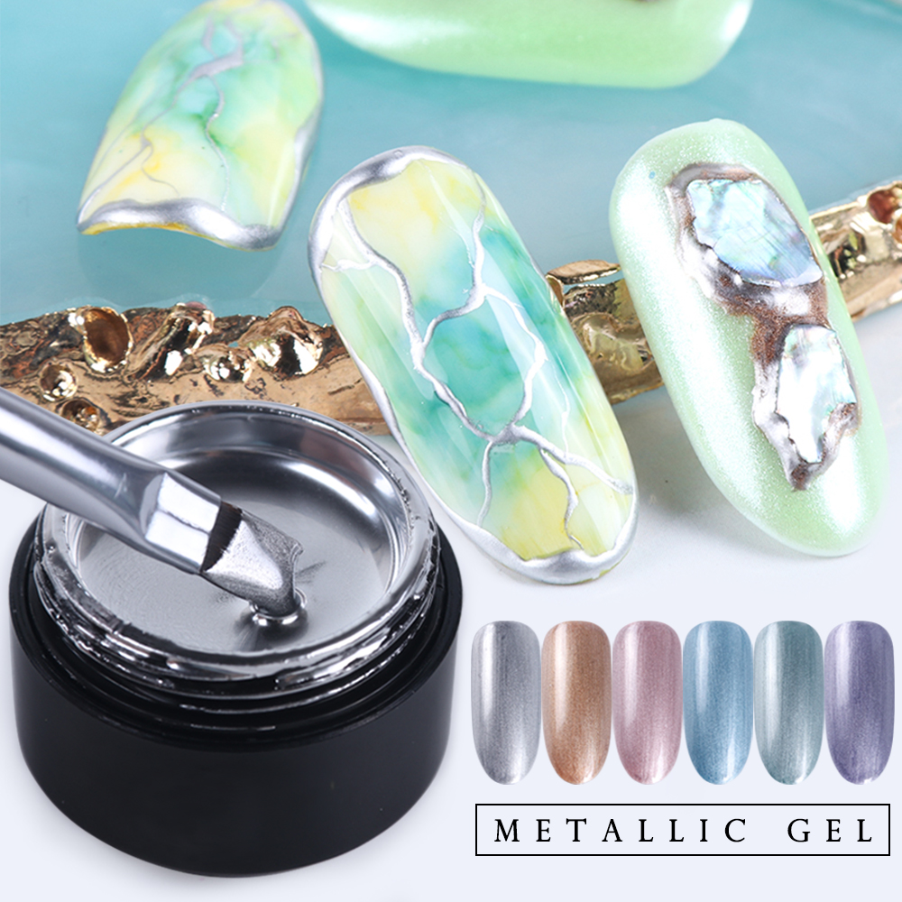 Metallic Gel Nail Polish UV Varnish Lacquer Mirror Nail Spider Web Paint Drawing Gel Silver Gold Color Soak Off Manicure SA776