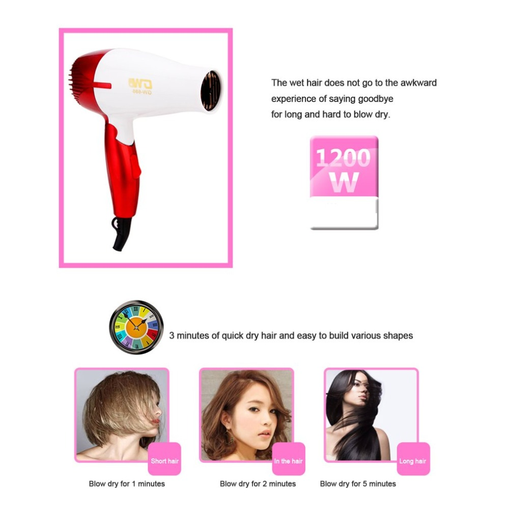 1Pc Supersonic Mini Portable Hair Dryer Folding Foldable Compact Traveller Blower Low Power School Students Air Blower GW-686