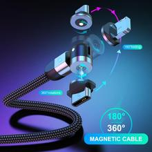 USLION 3A Magnetic/180 Rotation Data Cables Type C/Micro USB Data Cable