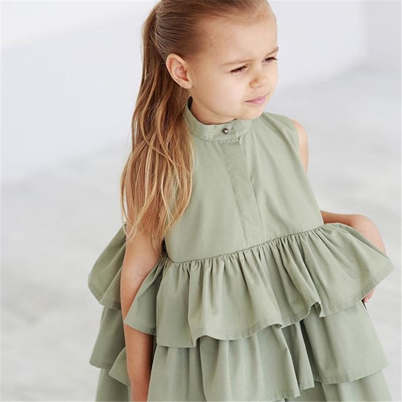 Summer Cute Black Green Ball Gown Girls Dresses Kid Girl Party Dress Sleeveless O Neck Cake Ruffled Tutu Bubble Dress 2-6T 4