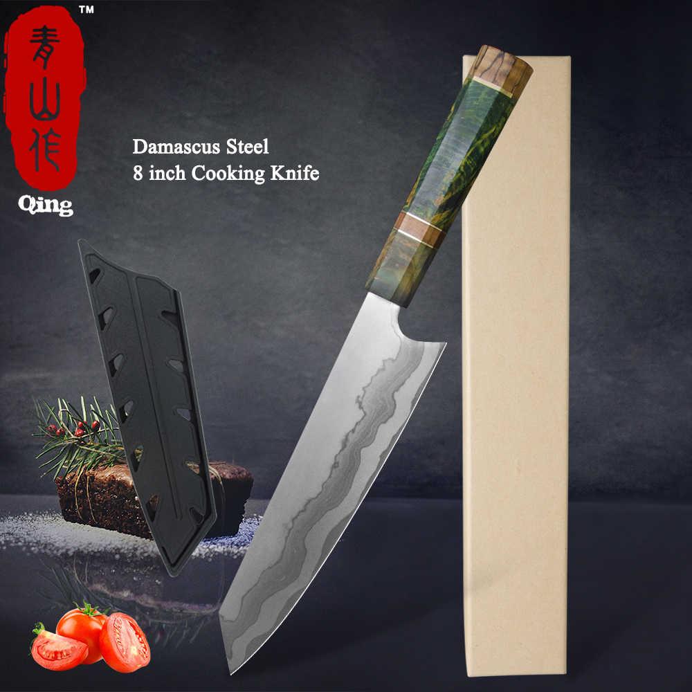 تشينغ 8 بوصة شارب دمشق سكين المطبخ النمط الياباني الجمال نمط الساطور تقطيع شريحة لحم المطبخ اكسسوارات المطبخ