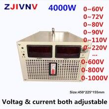 4000 واط تحويل التيار الكهربائي الناتج 300 فولت 400 فولت 500 فولت 600 فولت 700 فولت 800 فولت 1000 فولت فولت الحالي والجهد على حد سواء قابل للتعديل AC DC smps