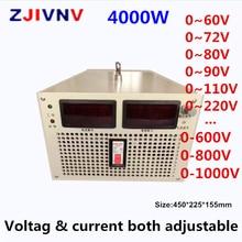 4000W Schalt netzteil ausgang 300v 400v 500v 600v 700v 800v 1000v strom und spannung beide einstellbar AC DC smps