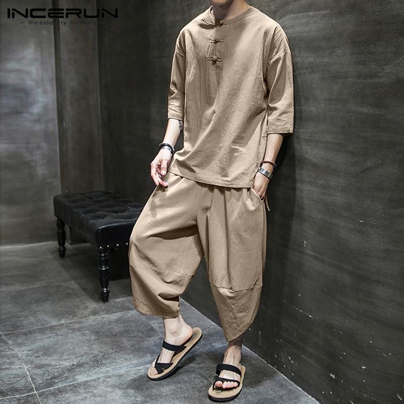 INCERUN Solid Color Men Sets Cotton Streetwear 3/4 Sleeve Casual Shirt Calf Length Pants 2 Pieces 2020 Vintage Men Suits S-5XL