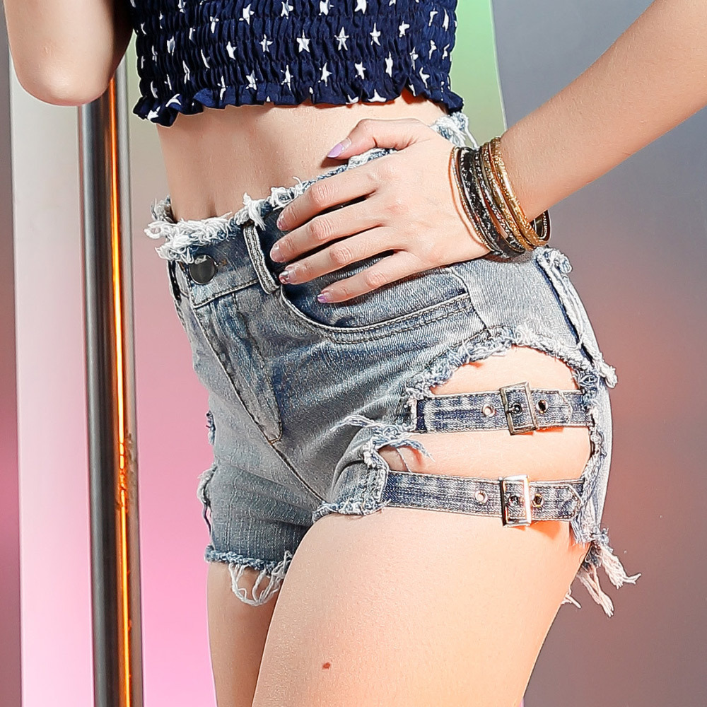Women Summer New Arrival Empire Waist Side Hole Sexy And Club With Pockets Slim Fit Denim Shorts Female Casual Hot Jeans Shorts