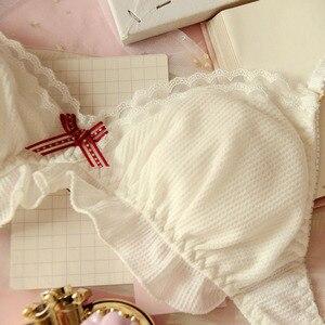 Image 3 - ญี่ปุ่นชีฟองน่ารัก Bra & กางเกงชุด Ruffles Wirefree ชุดชั้นใน Sleep Intimates ชุด Kawaii Lolita ชุดชั้นในสตรีชุด