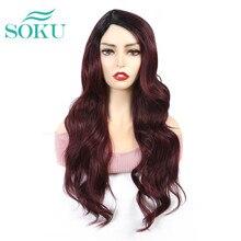 SOKU-perruque synthétique longue avec frange 24 pouces, coiffure avec raie latérale, cheveux sans colle en Fiber résistante à la chaleur pour femmes noires