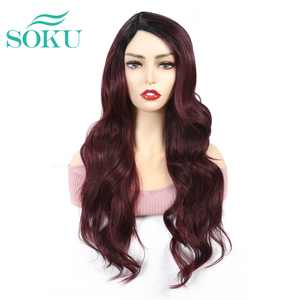 SOKU Red Color Synthetic Wigs With Bang 24 inch Side Part Long Wavy Wigs Glueless Heat Resistant Fiber Hair Wigs For Black Women