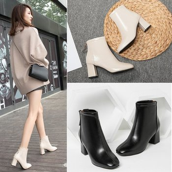 Women Net red women's shoes 2019 autumn new British wind short boots fashion square head thick with high-heeled Martin boots autumn and winter high socks martin wear british wind trend wild casual outdoor desert boots