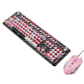 Mechanical Gaming Keyboard Typewriter Waterproof Wired Palette 104 Keys Metal Panel Round Keycaps - discount item  40% OFF Computer Peripherals