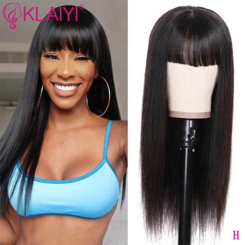 Klaiyi Hair Straight Hair Wigs With Bang 12-22 Inch Long Brazilian Remy Human Hair Wigs Glueless13X4 Lace Front Wig Pre Plucked