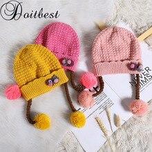 Doitbest/шапочки для маленьких мальчиков от 6 месяцев до 3 лет, зимняя детская вязаная шапка с цветочным принтом, шапка-ушанка для девочек