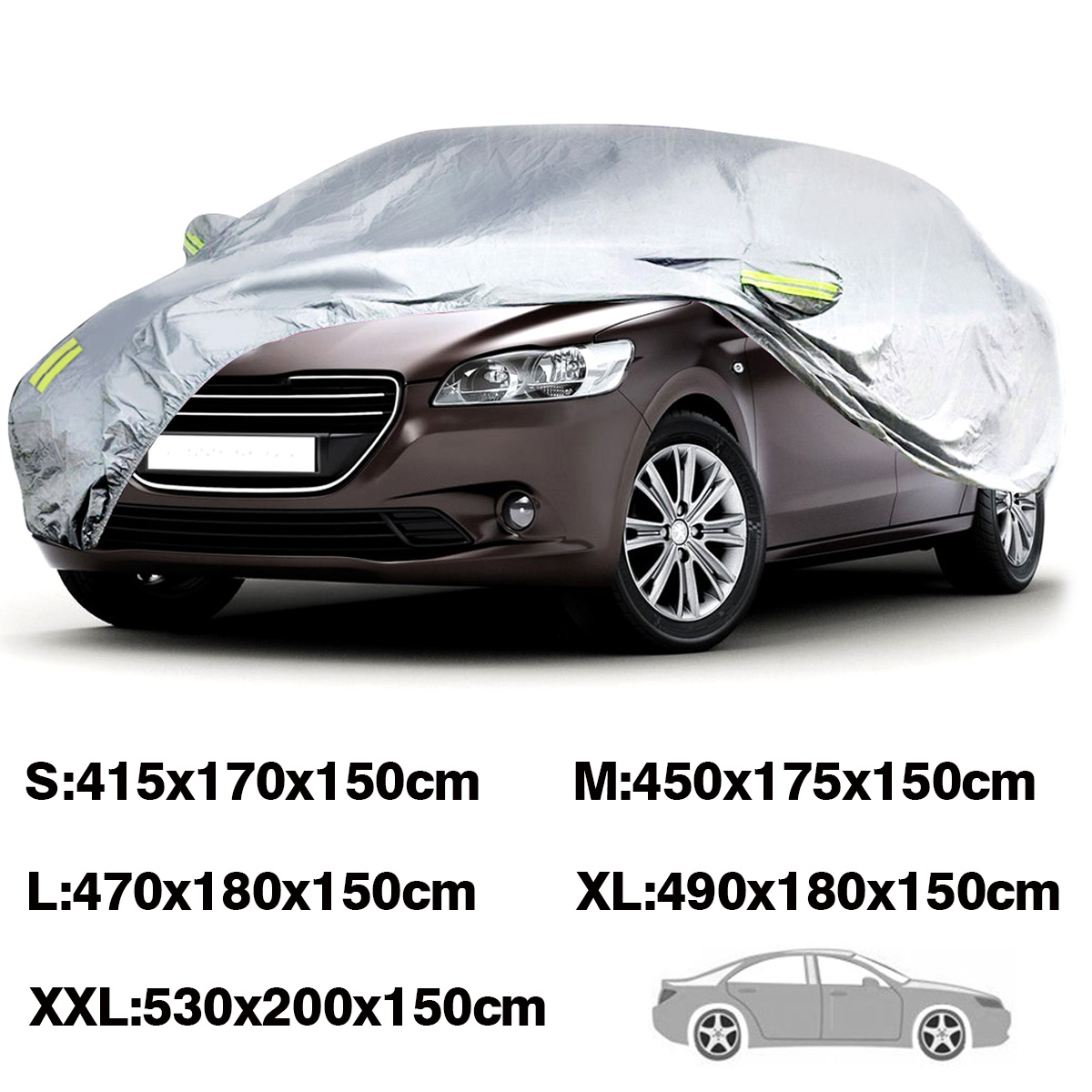 For SUV Sedan Pickup Truck Full Car Covers Waterproof Anti Dust Snow Resistant Sun UV Outdoor S-XXL Silver Auto Case Covers