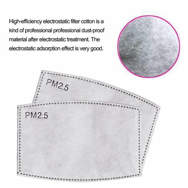 10-200PCS pm2.5 Filter PM25 5 Layer Anti Haze Disposable Mouth Mask Gasket Activated Carbon Valve Masks Washable Filter Mask 4