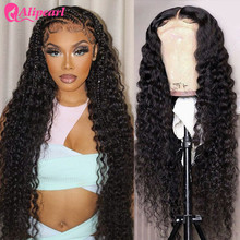 Alipearl cabelo onda profunda 13x4 hd frente do laço perucas de cabelo humano para as mulheres brasileiro hd peruca de renda transparente pré arrancado alipearl