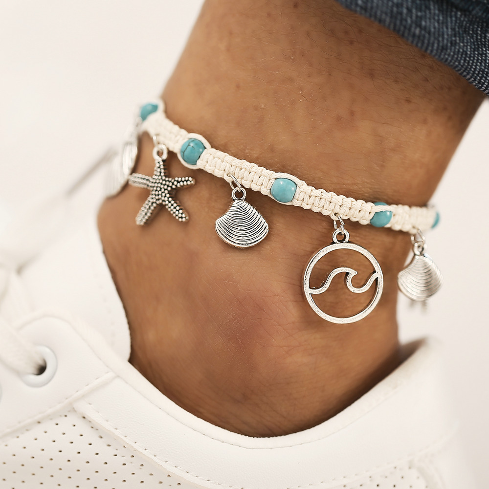 XIYANIKE Natural Stone Shell Starfish Bracelets Braided Adjustable Rope Chain Bracelet Anklet Wristband Handmade Beach Jewelry