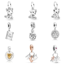 Valentines Colletion 100% 925 Sterling Silver Cute Gog Cat Charms Fit Pandora Bracelet Beads For Jewerly Making Gift