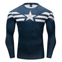 Captain America Punisher Spiderman Iron man T-Shirts 3D Print compression Tee Men Avengers Fitness Sportswear Tights Long sleeve