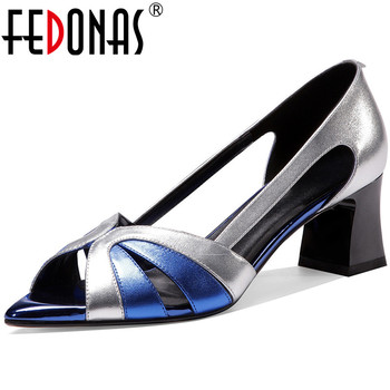FEDONAS Mixed Colors Genuine Leather Women Sandals Open-Toed Thick Heels Pumps 2020 Spring Summer Party New Quality Shoes Woman