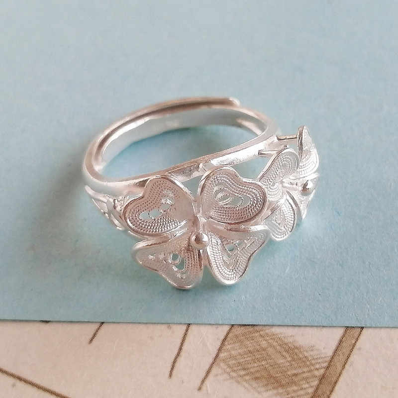Four Leaf Flower Ring Handmade from Sterling Silver