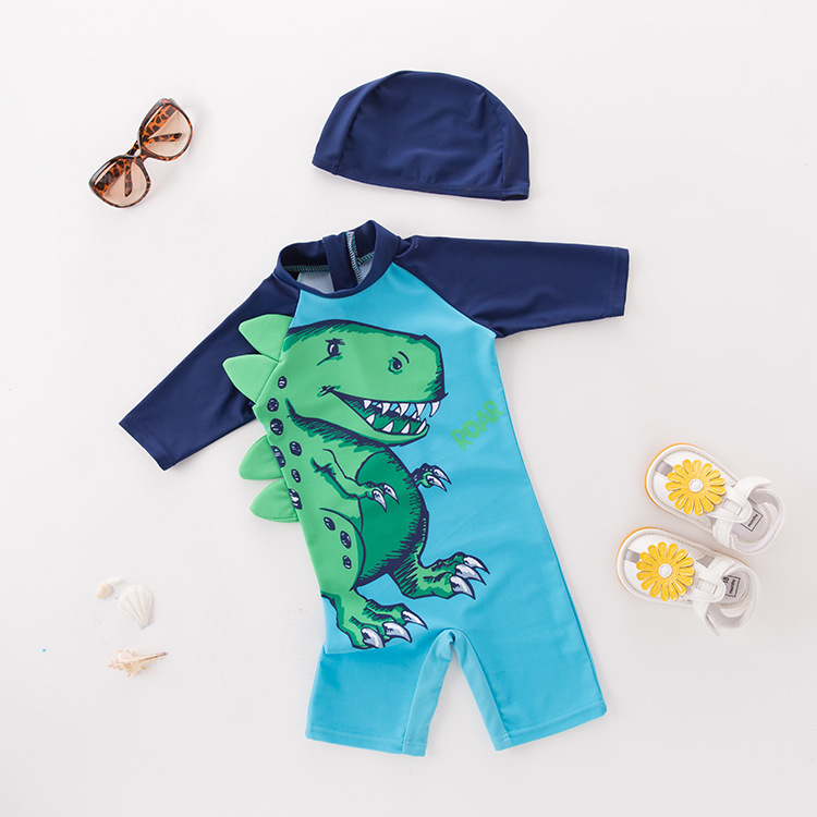 Boys' Cotton One-piece Swimsuit Blue Long Sleeved Stereo Dinosaur With Hat-Children Hot Springs Bathing Suit