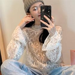 Autunno E di Inverno di Trasporto 2019 di Nuovo Stile Coreano-Stile Molto Fata Del Crochet Garza Manica a Campana Loose-Fit Stand colletto a Maniche Lunghe di Base La