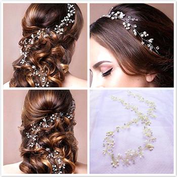 Kryształowa peruka perłowa pas ślubne ozdoby ślubne na włosy ozdoby ślubne nakrycia głowy dla narzeczonych ślubne akcesoria do włosów 35cm tanie i dobre opinie Z pałąkiem na głowę Metal Dla dorosłych