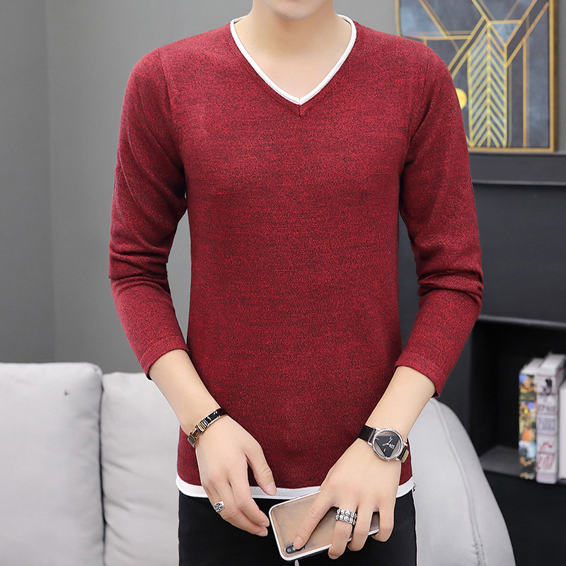 V-neck Sweater Men Pullover Thin Long Sleeve Spring And Autumn Beige Khaki Light Blue Wine Red Dark Grey Mens Sweater