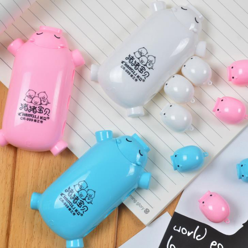 1 Pcs Kawaii Animal Baby Pig Correction Tapes School Office Supplies Stationery Gifts Corrector Tools Escolar Papeleria