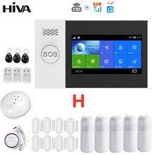 Hiva PG-107 tuya sistema de alarme 4.3 Polegada tela wifi gsm gprs assaltante segurança em casa com pir sensor movimento & detector fumaça incêndio