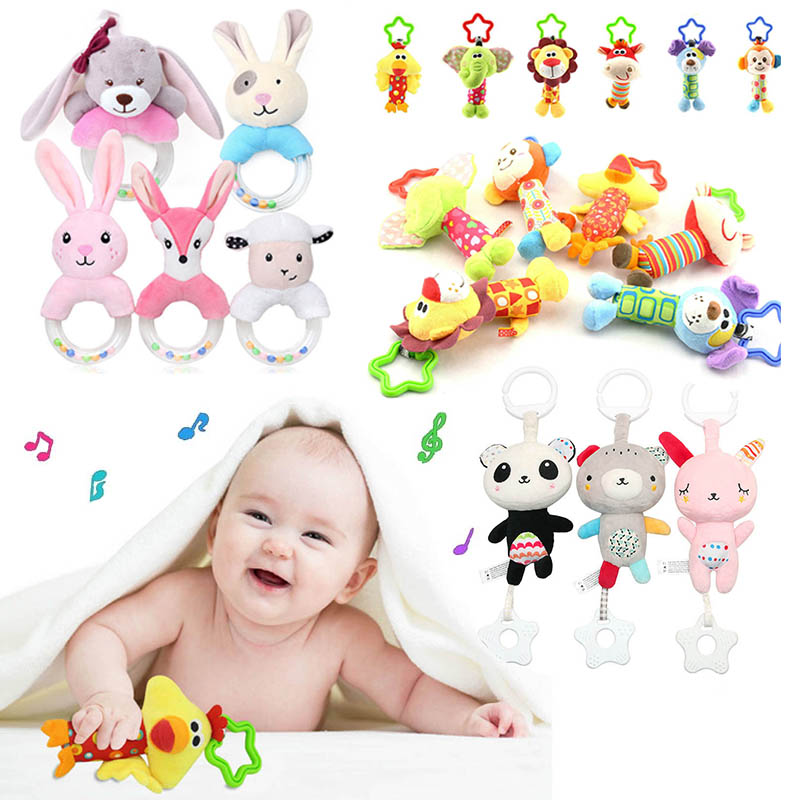 Hanging Plush Baby Toy Rattle Lovely Cartoon Animal Bell Newborn Stroller 0-12 Mouths Baby Toys 6 Style Lion Deer Elephant Chick