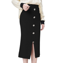 LOOZYKIT 2019 Autumn Winter New Women High Waist Knitted Skirt Female Warm Skirt Long Solid Female Rib Skirts With Button