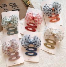 цена на NEW Fashion Cute Dot Big Hair Bows Hairpins Solid Felt Hair Clips Princess Winter Headware Hair Accessories J111