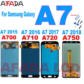 AAA+ A7 LCD Screen For Samsung Galaxy A7 2015 2016 2017 2018 A700 A710 A720 A750 LCD Display Touch Screen Digitizer Replacement tft a750 lcd for samsung galaxy a7 2018 lcd sm a750f a750f a750 display with frame touch screen digitizer replacement parts