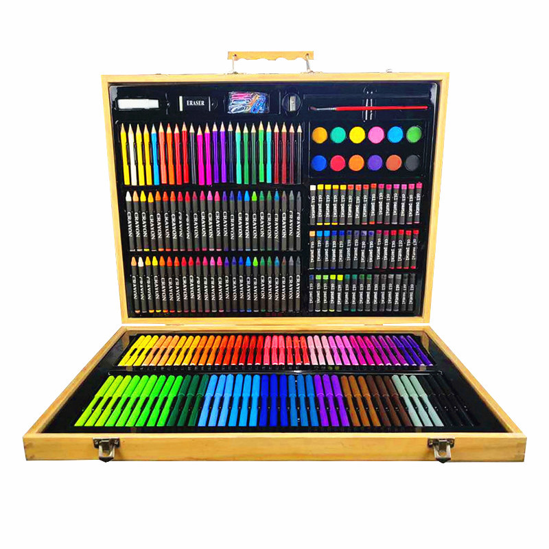 Manufacturers Direct Selling Wooden Box 214 Pieces Watercolor Pens Set Children Painted Fine Art Stationery Brush Promotion