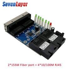 Коммутатор эфирной сети, волоконно-оптический медиа конвертер одиночный режим 4 RJ45 2 SC волокно Порты и разъёмы 10/100 м PCBA