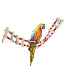 4 размера красочные попугая птица деревянная лестница подъем канатной хомяк игрушечная веревка попугай укусов портупея попугай товары для дома