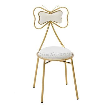 Makeup Stool Dressing Table Nordic Bow Net Red Ins Female Home Simple Nail Bedroom Wrought Iron Back Chair