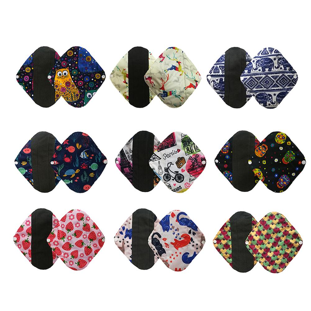 Reusable Bamboo Charcoal Floral Cloth Menstrual Panty Liner Sanitary Pad Towel Menstrual Pad Mama Sanitary Reusable Washable